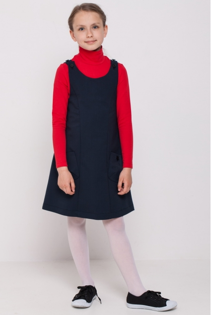 Girls polo neck, red