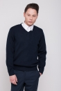 Men's sweater, with patches on elbows, navy