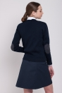 Women sweater, with patches on elbows, navy